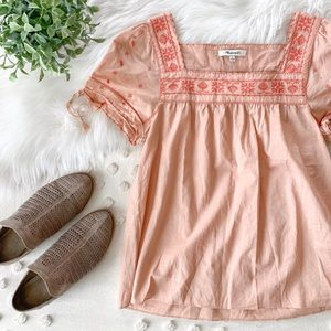 Madewell 'La Villa' Blush Pink Peasant Top